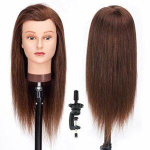 HLRM Tete a Coiffer 100% Cheveux Naturel Vrai, Tête à Coiffer 45cm, Tete a Coiffer Professionnelle pour le Salon Coiffeur Filles avec Support (Costume pour le blanchiment et la teinture)