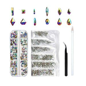 JoCome Strass Ongle Nail Art Cristal Mix Tailles Cristaux Strass Deco Ongle 12 Formes Irrégulière Diamant Décoration Ongles Mixtes Brillant Coloré Cristal Accessoire ongle (Blanc, 20 * 15 * 3)
