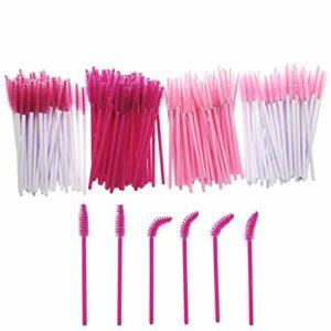 JZK 200 x Plastique jetable rose baguettes applicatrices de mascara brosses à cils pour extensions sourcils brosse à sourcils