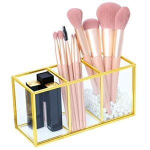 KAMEUN Make Up Licol Cosmétique Organisateur Maquillage Pinceaux Gobelet Verre Transparent Maquillage Pinceaux Boîte de Rangement Luxe Cosmétiques pour Vernis à Ongles Rouge à Lèvres Pinceaux