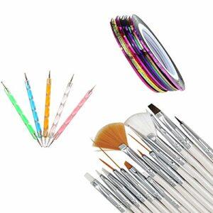 Katpost 30PCS Kit de Nail Art Manucure Brosses de Nail Art Pinceaux à Ongles Stylos Dotting Tools Doubles Pour Nail Art