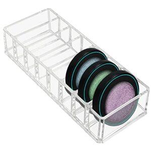 Kurtzy Clear Rangement Palette Maquillage Fard a Paupiere en Acrylique avec 8 Sections – L 21,5 x l 8,5 cm – Rangement Compact Idéal pour les Tiroirs & Commodes – Organisateur Palette Fard a Joue