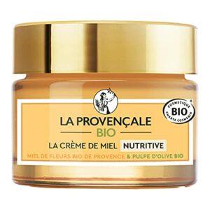 La Provençale Bio – Crème de Miel Nutritive – Miel de Fleurs Bio IGP Provence et Pulpe d'Olive Bio – Pour Tous Types de Peau Même les Plus Sensibles – 50 ml