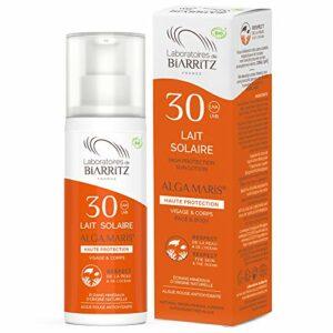 Laboratoires de Biarritz – Lait Solaire – SPF30 – ALGA MARIS® Certifié Bio – Visage et Corps – Texture Fluide et Onctueuse – 100 ml – Fabriqué en France