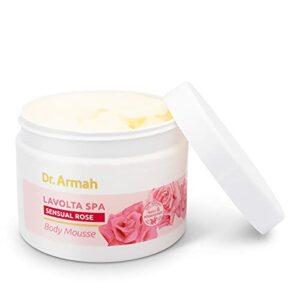 LAVOLTA Spa Body-Mousse Sensual Rose crème corporelle raffermissante naturelle à base de beurre de karité et d'huile de rose avec huile d'amande, hyaluron, vitamine E & Q10 200ml – vegan sans additifs