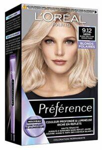 L'Oréal Paris Préférence Blond Polaire Coloration Permanente Cheveux, Nuance : Sibérie 9.12, Blond très clair cendré perlé