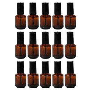 Lot de 15 flacons de vernis à ongles cylindriques vides en verre de 7 ml avec capuchon en pinceau