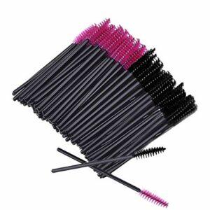 Lot de 200pcs Brosse Pinceau pour Cils Yeux Mascara Maquillage(Rose noir)