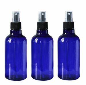 Lot de 3 flacons de 250 ml en plastique PET avec pulvérisateur noir pour maquillage, cosmétiques, bain, douche, produits de toilette, parfum, après-shampooing, lavage des mains (bleu)