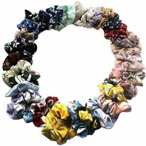 Lot de 36 élastiques pour cheveux colorés en mousseline de soie pour femme, fille et enfant