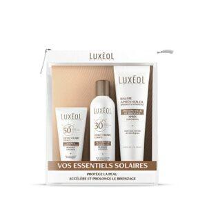 Luxéol – Pack Solaire – Visage et Corps – Accélère & Prolonge le Bronzage – Protège la Peau – Produits cosmétiques Made in France – 3 Produits
