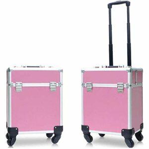 Maquillage Aluminium Portable train Valise de rangement cosmétique Voyage professionnel Boîte Verrouillable Bijoux Organisateur avec clés Outils de maquillage (Couleur: Rose) fengong ( Color : Pink )