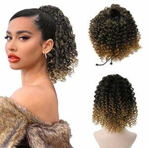 MEIRIYFA Extension de queue de cheval afro bouclée avec cordon de serrage, cheveux bouclés en fibre synthétique, 20,3 cm