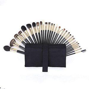MERCB Ensembles de pinceaux de Maquillage 30 pcs Poils d'animaux Laine Imitation ébène poignée Pinceau à lèvres Pinceau de Maquillage Cheveux Doux Trousse d'outils de beauté Professionnel
