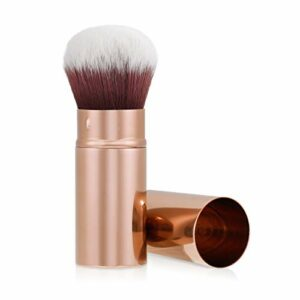 Navaris Pinceau Poudre Kabuki – Pinceau Rétractable pour Maquillage Fond de Teint Blush – Brosse Cosmétique à Manche Long – Accessoire Voyage