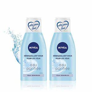 NIVEA Démaquillant Doux pour les Yeux (2 x 125 ml), démaquillant yeux sensibles, nettoyant visage enrichi en eau purifiée, soin visage femme format voyage