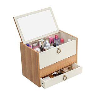 OMYLFQ Cas de Rangement cosmétique en Bois Afficher Le Rack avec Le Maquillage de tiroir Cas d'organisateur de Maquillage pour pinceaux à lèvres Skincare Toner