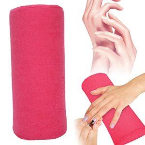Oreiller de repose-main, doux et respectueux de la peau Coussin pour les mains Nail Art compact et léger Bonne élasticité à utiliser Conception détachable pour la maison(rose Red)