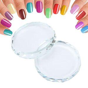 Palettes d'art d'ongle, palette de maquillage Transparent 2 pièces en verre de cristal pour la colle de faux cils pour la tonification de l'art des ongles