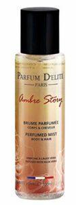 Parfum D'Elite Paris – Ambre Story – Brume Parfumée Corps & Cheveux – Pour Femme – Enrichie à l'Aloe Vera – Longue Tenue – 100 ml
