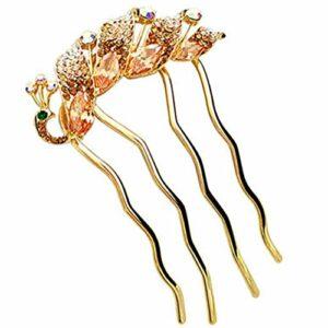 Peigne mariée accessoires de cheveux classique, doré(paon)