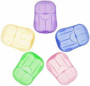 PERFETSELL Paquet de 10 feuilles de tranche de savon en papier jetables portatives avec feuille de savon moussant en plein air pour la toilette, le bain, le voyage et le camping (couleurs aléatoires)
