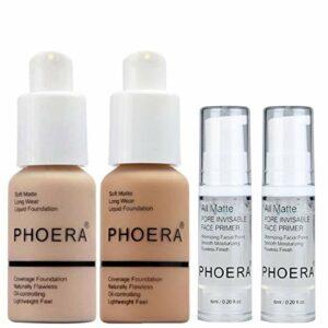 PHOERA 30ml Fond de Teint Couvrant Liquide Couverture Complète Foundation Correcteur (Nude #102) (Buff Beige #104) avec 2Pcs Apprêt de maquillage pour le visage