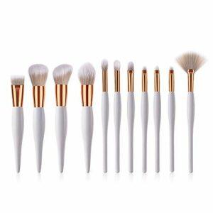 Pinceau de Maquillage, Pinceau de Maquillage 11 Pcs Pinceaux de Maquillage Pinceaux dorés Blancs Pinceau à lèvres Conclear Sourcils Peigne à Cils Fond de Teint en Poudre (Couleur: Blanc)