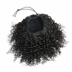Ponytail Extensions Drawstring Postiche a Cheveux Naturel Afro Cheveux Humain Bouclée, Kinky Postiche Queue de Cheval Cordon de Serrage Drawstring 2-clips in Top Ponytail 8 pouces Naturel Noir 90g