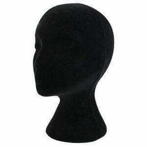 Prasacco 53 cm Mousse de polystyrène Mousse Velours Noir comme Mannequin Mannequin tête Perruque Affichage Chapeau Lunettes, Noir