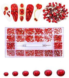 Rhinestone Crafts – Diamant pour ongles/vêtements, bijoux d'ongles de créateur, 10040 pièces Vosovo en acrylique et perles à ongles – 600 + 4700 – Rouge
