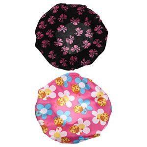 rosenice 2 Pièces Enfants Élastique Bonnet De Nuit Enfant Nuit Bonnet Fleur Sommeil Chapeau pour Douche Nuit De Bain Couverture Couleur 2