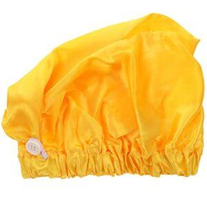 rosenice Satin Sommeil Chapeau avec Bouton Satin Bonnet Turban Chapeau Longs Tête Couverture pour Douche Spa de Couchage Nuit Chapeaux Jaune