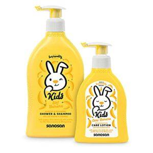 sanosan shampooing douche 2en1 et lotion hydratante – Coffret soins cheveux pour enfants à l'extrait d'olive biologique et aux protéines de lait – Gel douche, shampooing, lotion corps