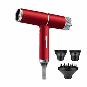 Sèche-cheveux à ions négatifs anioniques 3 en 1, puissant sèche-cheveux à air chaud / air froid, coupe de cheveux, salon de coiffure, salon de beauté, séchage et coiffage rapides-ROUGE