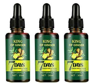 Sérum de croissance des cheveux germinatif au gingembre de 7 jours, sérum d'huile de croissance des cheveux de traitement d'amincissement, huile essentielle de gingembre (3 pièces)