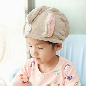 Serviettes de Cheveux Bonnets de Douche Serviettes pour Essuyer les Cheveux de l'Enfant Serviettes Absorbantes Chapeau à Cheveux Secs pour enfants avec bouton