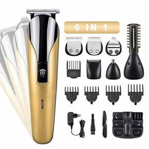 SLE 6 en 1 Tondeuse Barbe, Tondeuse Cheveux Hommes Professionnel avec 6 Peignes de Guidage, pour Couper Cheveux, Moustache, Nez, Sourcils