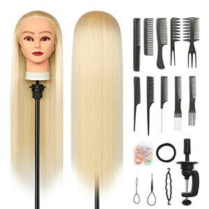 Tete a Coiffer, 28 inch 100% de Cheveux Synthétiques Têtes d'exercice Tête À Coiffer Coiffure Cosmétologie tete a coiffer professionnelle Poupée avec Support + Ensemble de Tresse (Blonde)