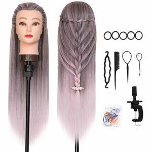 Tete a Coiffer, DanseeMeibr 66cm Tête de coiffure 100% de Cheveux Synthétiques Têtes d'exercice pour le Salon Coiffeur Poupée avec Support + Ensemble de Tresse (Ombre Pink)