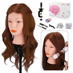 Tête à Coiffer Professionnelle Cheveux Naturel, MYSWEETY 100% de Cheveux Humains Poupée Tête de D'exercice avec Support, pour Curling Redressement, Marron 45,7cm