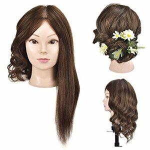 Tête de mannequin de 45cm environ, cheveux 100% naturels avec fixation type serre-joint