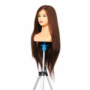 Tête d'exercice, Anself 25.59″Brun 100% vrais cheveux Coiffure Formation Mannequin Mannequin Formation Pratique Mannequin Tête Pour Tresse Coiffeur Professionnel (Support de tête n'est pas inclus)