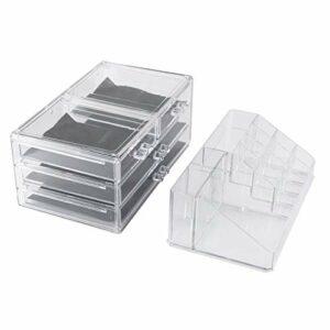 Tree-fr-Life Boîte de Maquillage de Grande capacité Grand Bureau Acrylique Transparent Multi-tiroirs Stockage cosmétique Finition Support de Rouge à lèvres Transparent