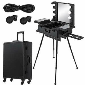 Ukiki Table Maquillage Professionnelle Trousse à Maquillage roulettes 2 en 1 Professionnelle Tiroirs 6 Lampes pour Artiste de Studio Table de Train Verrouillable à 6 Lumières Miroir Noir