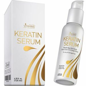 Vitamins Sérum Kératine Cheveux Secs et Abîmés – Soin Proteine Fortifiant à Huile de Castor, Biotine et Collagene – Thermoprotecteur Anti Frisottis Protection Chaleur