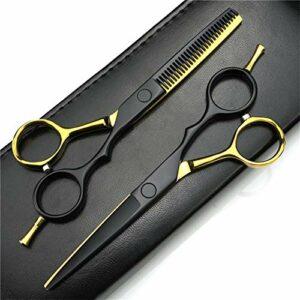 WJY Ciseaux de Coiffure Kit Cheveux à épiler de Ciseaux Set 440C Coupe de Cheveux Ciseaux Barber Barber Stylist 5,5 Pouces (Or et Noir) (Color : A)