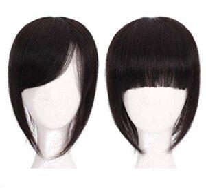 12 'Clip on Wiglet Postiches Couronne Toppers Femmes' s Topper de Cheveux Humains avec Bangs Maquillage Accessoires