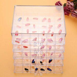 120 grilles de décoration pour ongles de salle de bain – Boîte de rangement transparente – Articles artisanaux