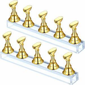 2 Sets Présentoir à Ongles en Acrylique Support de Pratique de Pointe d'Ongle Support de Pratique Magnétique d'Ongle Stand d'Art d'Ongle Bricolage pour Faux Ongles Manucure (Or)